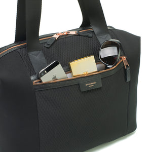 Stevie luxe scuba black | storksak changing bag | Large zipped front pocket |