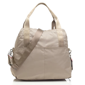 Alexa taupe Baby Changing Bag back view | shoulder bag Changing Bag | Storksak – Award-winning Baby Changing Bags & Accessories