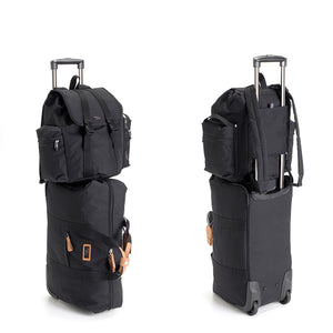 Storksak Travel Backpack Black changing Bag on Cabin Carry-on 2 views | Backpack changing bag | Storksak - Award-winning Baby Changing Bags & Accessories