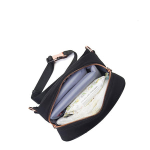 Belt Bag Scuba Black Changing Bag internal view | Convertible small Changing Bag | Storksak – Award-winning Baby Changing Bags & Accessories