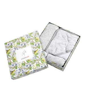 Bundle of Joy Gift Set for new baby in Bamboo and cotton with garden print| muslin swaddle hooded towel and washcloth | Storksak – Award-winning Baby Changing Bags & Accessories