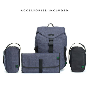 Storksak eco Travel Backpack Navy | Award winning changing bags | unisex rucksack  | changing mat | insulated bottle holder | nappy bag