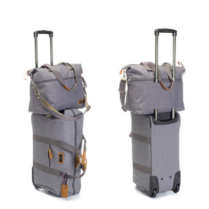 Storksak Travel Expandable tote Grey hospital bag on Cabin carry-on 2 views | Maternity hospital bag | Storksak - Award-winning Baby Changing Bags & Accessories