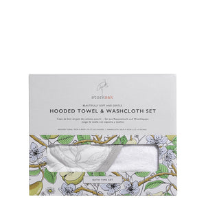 baby hooded towel and washcloth in garden print in box | super soft bamboo terry towel and flannel  | Storksak – Award-winning Baby Changing Bags & Accessories