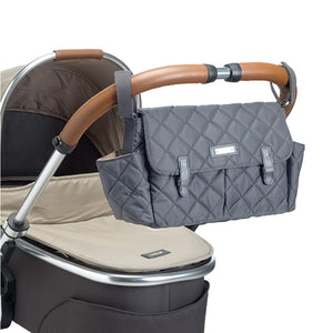 Stroller Organiser Grey Baby accessories on buggy | Storksak – Award-winning Baby Changing Bags & Accessories