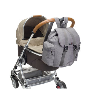 Storksak Travel Backpack Grey changing Bag on buggy | Backpack changing bag | Storksak - Award-winning Baby Changing Bags & Accessories