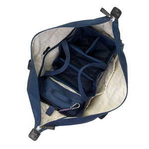 Storksak Travel Duffel Navy hospital bag internal view empty | Maternity hospital bag | Storksak - Award-winning Baby Changing Bags & Accessories
