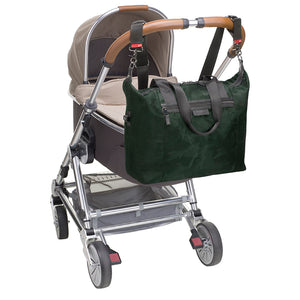 Stevie luxe Camo emerald | storksak changing bag | Bag attached to pram with stroller clips