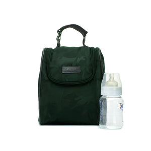 Stevie luxe Camo emerald | storksak changing bag | Insulated bottle bag