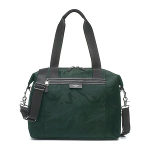 Stevie luxe Camo emerald | storksak changing bag | unisex baby bag | stylish diaper bag | front view