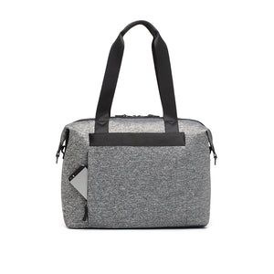 Stevie luxe scuba grey marl | storksak changing bag | Concealed phone pocket on the back | stylish diaper bag |