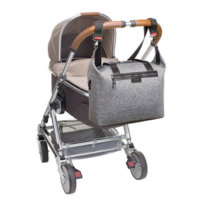 Stevie luxe scuba grey marl | storksak changing bag | Bag attached to pram with stroller clips