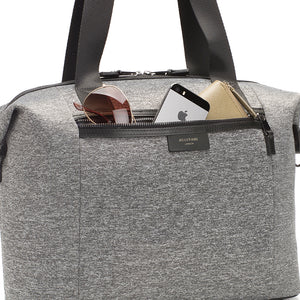 Stevie luxe scuba grey marl | storksak changing bag | Large front zipped front pocket | sporty material