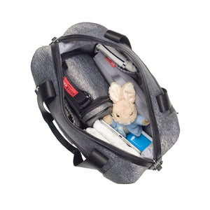 Stevie luxe scuba grey marl | storksak changing bag | Spacious internal for all baby items | wide double zipped opening