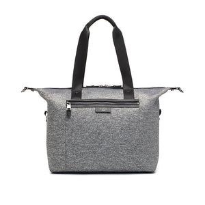 Stevie luxe scuba grey marl | storksak changing bag | Baby bag tote shape | unisex diaper bag