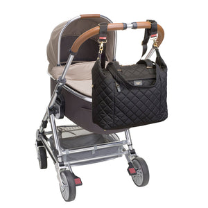 Stevie quilt black Baby Changing Bag | shoulder bag Changing Bag on stroller | Storksak – Award-winning Baby Changing Bags & Accessories