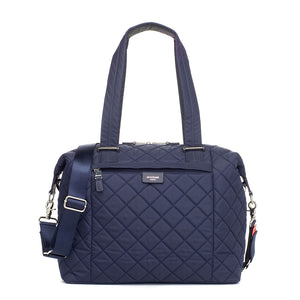 Stevie Quilt navy | storksak changing bag | front view | quilted nylon shoulder bag | blue diaper bag | quilted baby bag