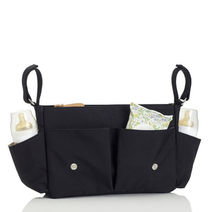 Storksak Travel Stroller Organiser Black baby accessories open filled | Travel baby accessories | Storksak - Award-winning Baby Changing Bags & Accessories
