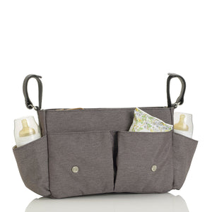 Storksak Travel Stroller Organiser Grey baby accessories open filled | Travel baby accessories | Storksak - Award-winning Baby Changing Bags & Accessories