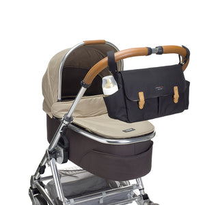 Storksak Travel Stroller Organiser Black baby accessories on buggy | Travel baby accessories | Storksak - Award-winning Baby Changing Bags & Accessories