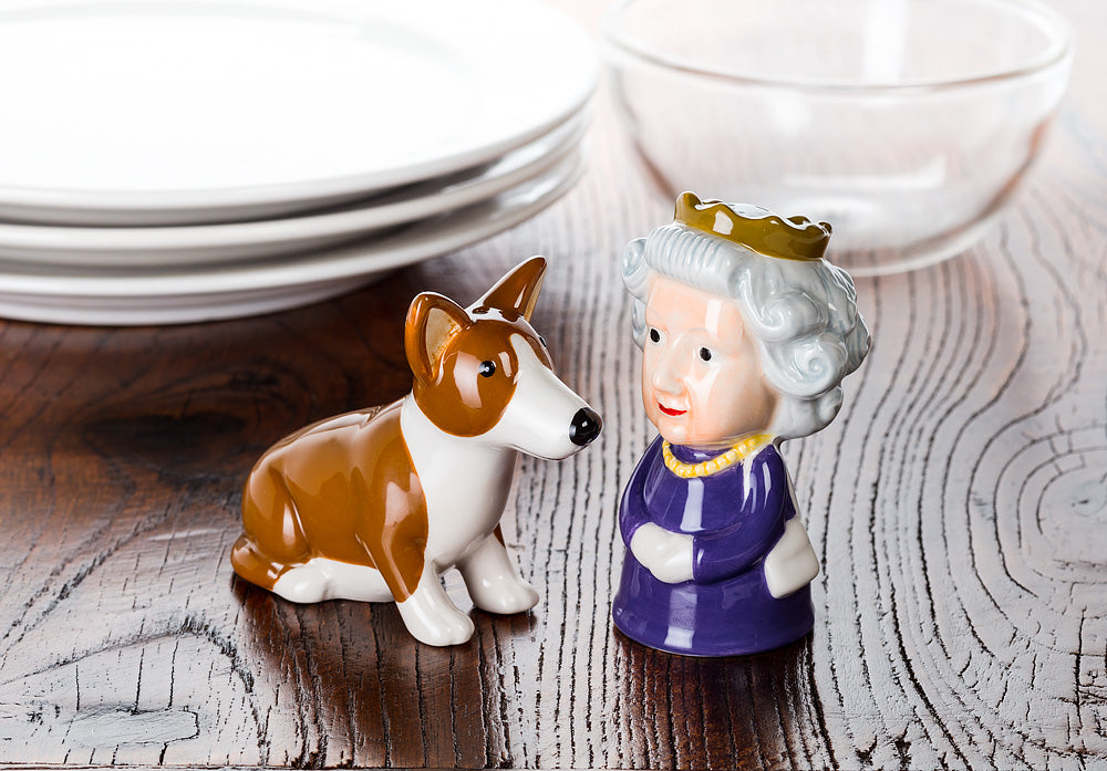 Queen and Corgi Salt and Pepper shakers