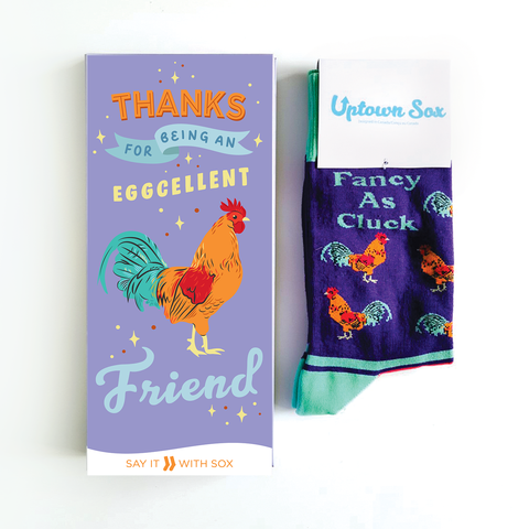 Thanks for being eggcellent - say it with socks