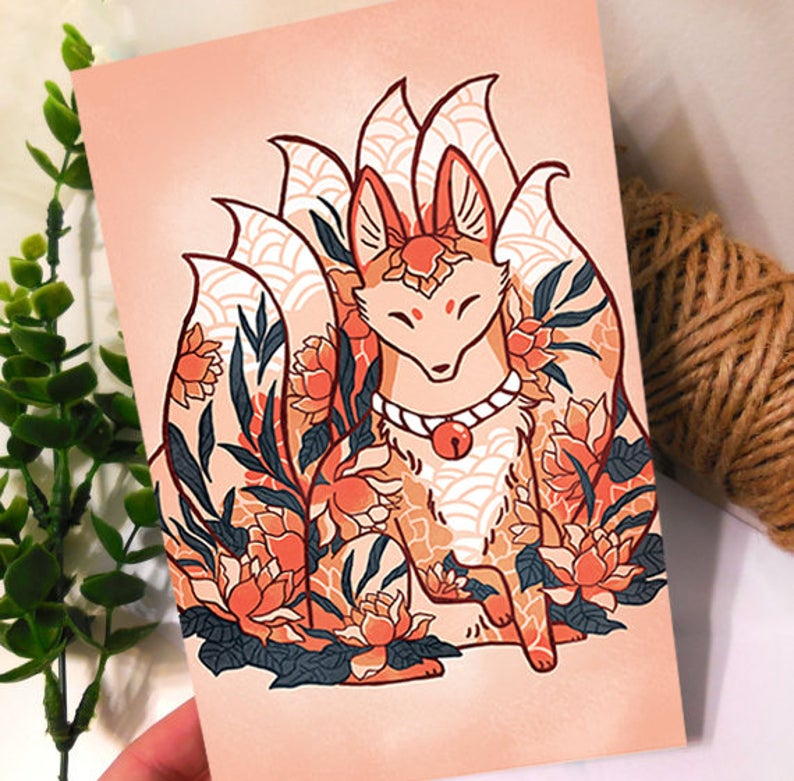 Lotus Fox Greeting Card