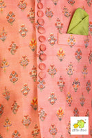 Pink Floral Printed Chanderi Jacket  (Jacket Only)
