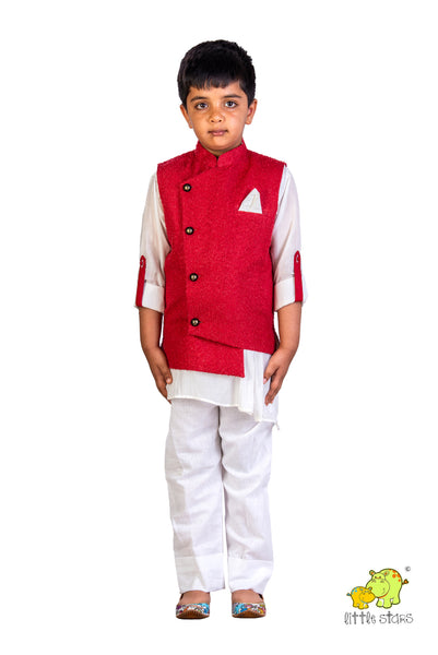 Textured Red Jacket with Asymmetric Kurta Set