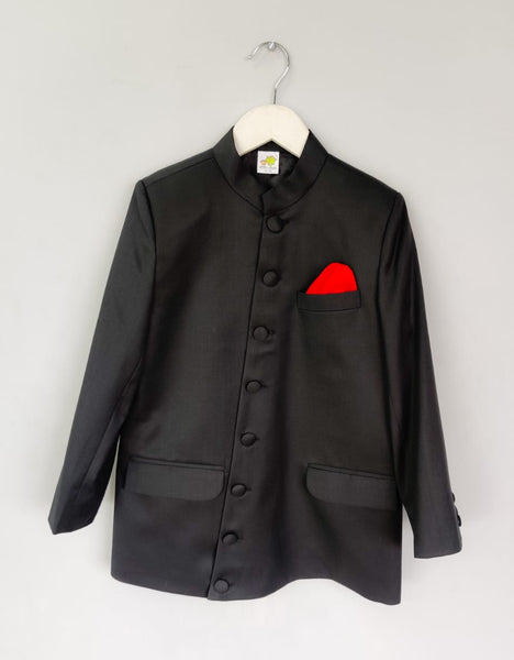 Side Cut Black Bandhgala with Cloth Buttons and Red Pocket Square