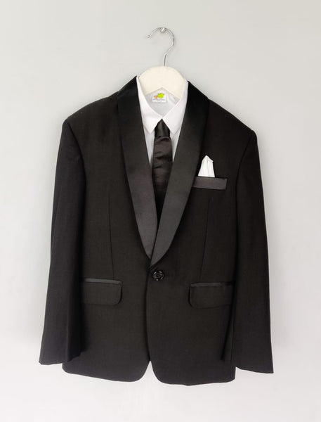Black Tuxedo Set with Black Tie, White Shirt and Black Trousers
