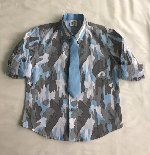 Camouflage Print Rollup Sleeves Quirky Shirt with Tie