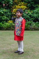 Triangle Printed Jacket in Tissue with Kurta Churidar Set