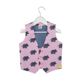 Elephant Printed Pink Waistocat with Detachable Grey Bow