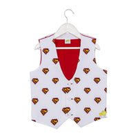 Superhero printed white Waistocat with Detachable Red Bow