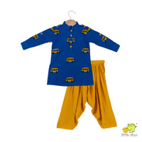 Bus Embroidered Pathani Kurta With Yellow Patiala Set