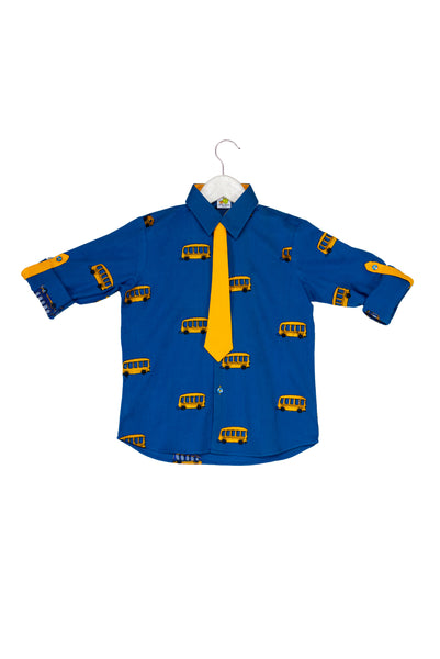 Bus embroidered Rollup Sleeves Quirky Shirt with Tie