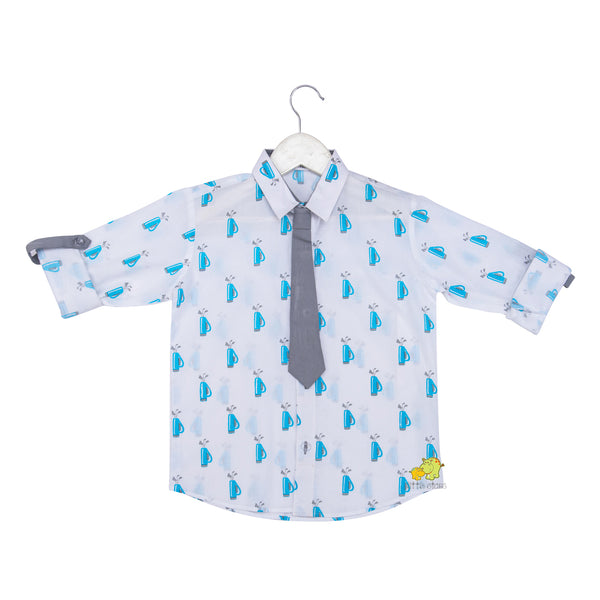 Golf printed Rollup Sleeves Quirky Shirt with Tie