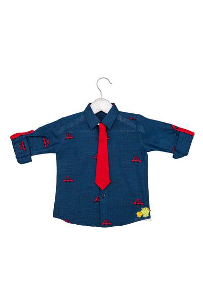 Car embroidered Rollup Sleeves Quirky Shirt with Tie