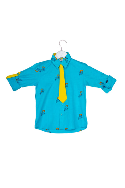Rickshaw embroidered Rollup Sleeves Quirky Shirt with Tie