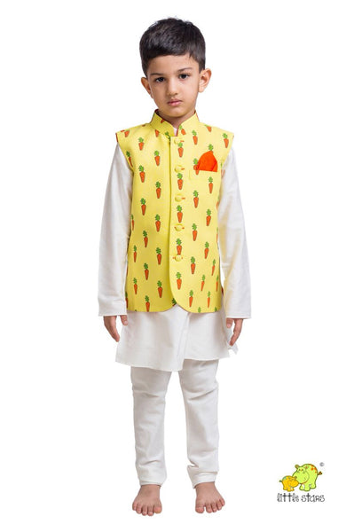 Carrot Printed Nehru Jacket (Jacket only)