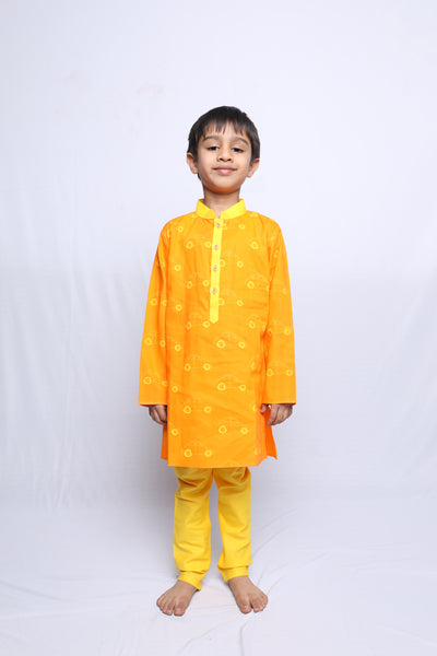 Car Outline Printed Kurta Churidar Set