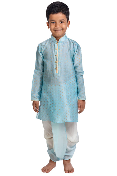 Blue Printed Kurta with Shaded Dhoti