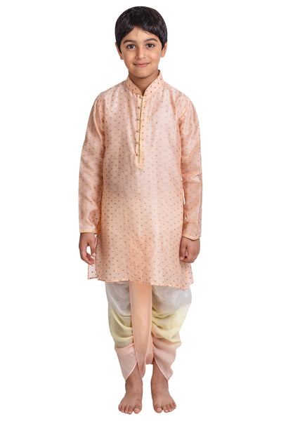 Pink Printed Kurta with Shaded Dhoti