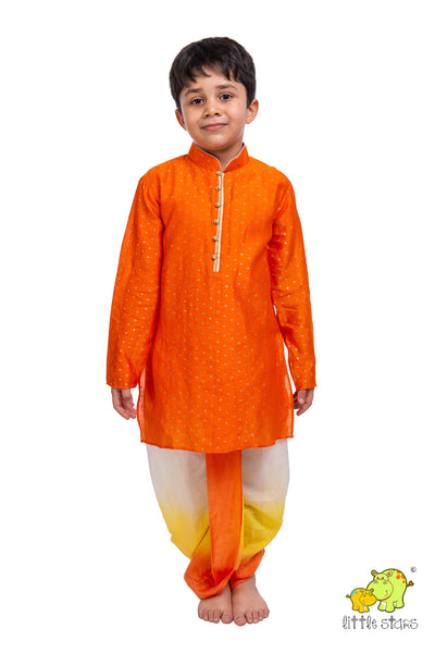 Orange Printed Kurta with Shaded Dhoti