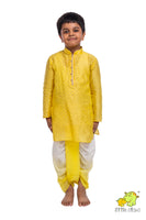 Yellow Printed Kurta with Shaded Dhoti