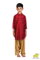 Ship Embroidered Pathani with Patiala