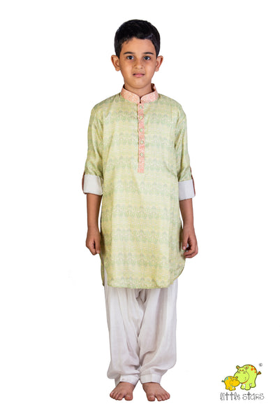 Printed Kurta With White Patiala Set
