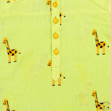 Giraffe Embroidered Pathani Kurta With Yellow Patiala Set