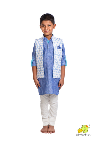 100% Linen Tree Printed Nehru Jacket (Jacket only)